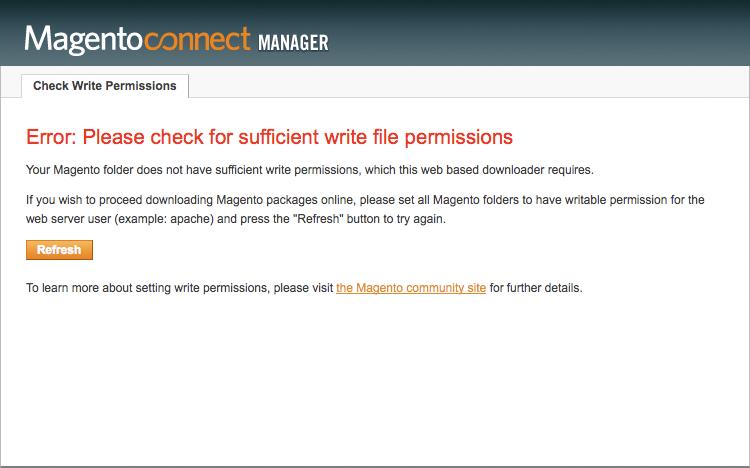 Erros de permissão no Magento Connect - imagem: wiki.locaweb.com.br
