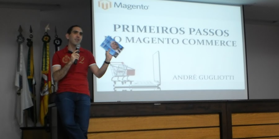 AndrÉ Gugliotti em palestra de Magento - imagem: Tchelinux