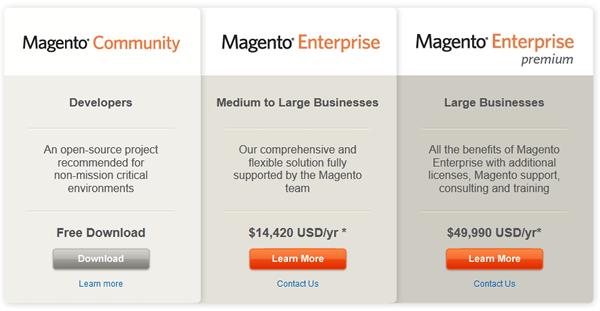 Comparando as versões do Magento - imagem: magentocommerce.com