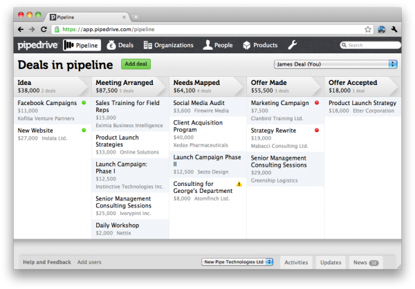 screenshot da pipeline, no Pipedrive - imagem: pipedrive.com