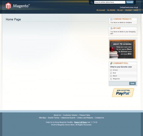 Tema Base/Default no Magento - imagem: reprodução
