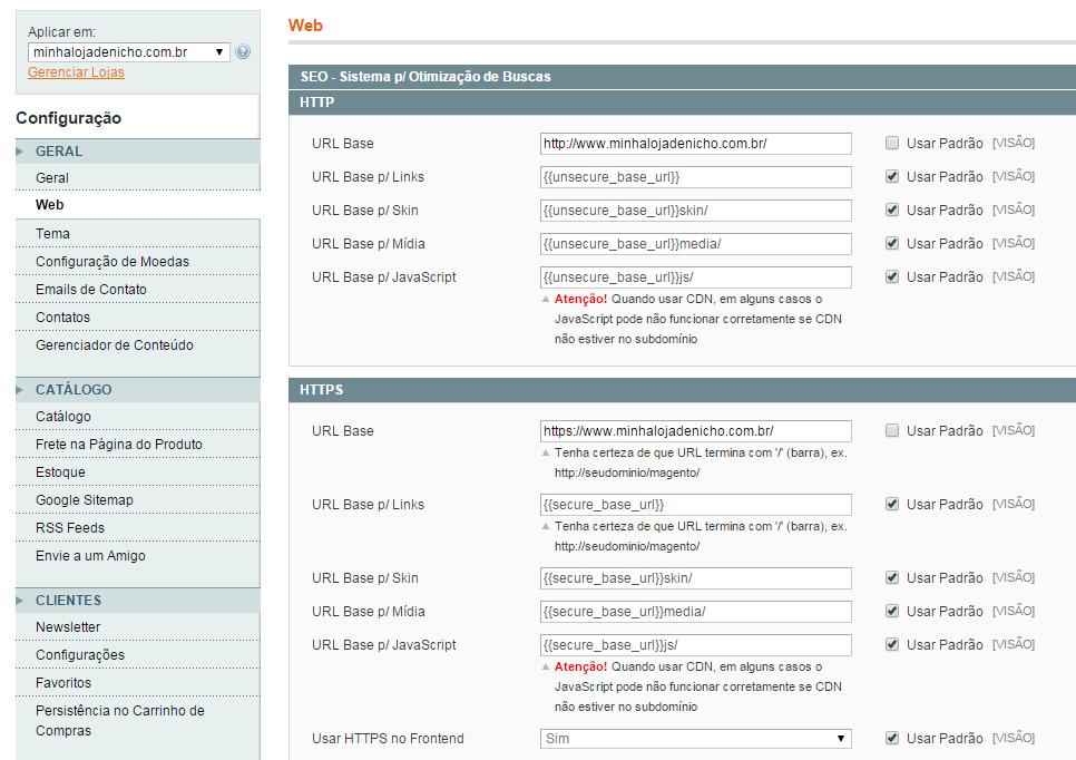 Configuração dos endereços no Magento - imagem: reprodução