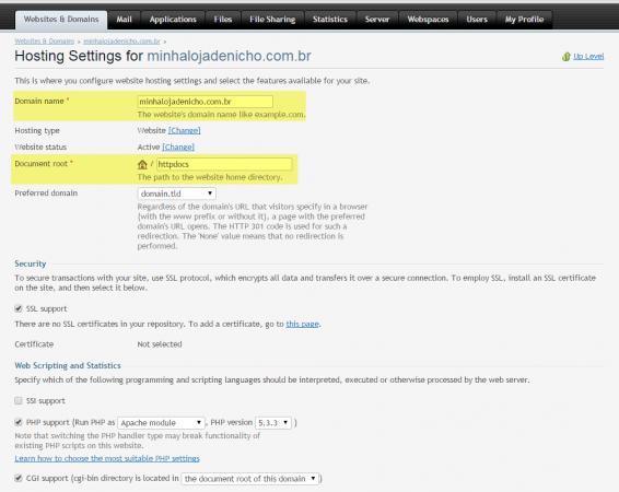 Configurando domínio no Plesk - imagem: reprodução